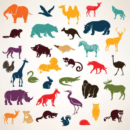 Ilustración de big set of african and european animals silhouettes in cartoon style - Imagen libre de derechos