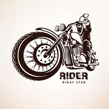 Illustration pour biker, motorcycle grunge vector silhouette, retro emblem and label - image libre de droit