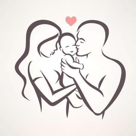 Ilustración de happy family stylized vector symbol, young parents and baby - Imagen libre de derechos