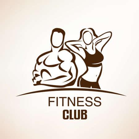 Ilustración de fitness symbol, outlined sketch, emblem or label template - Imagen libre de derechos