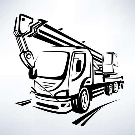 Ilustración de auto crane isolated vector symbol, stylized sketch - Imagen libre de derechos