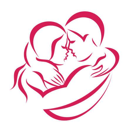 Photo pour romantic love couple icon, stylized symbol of man and woman - image libre de droit