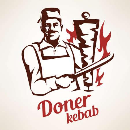 Illustration pour asian chef preparing doner kebab illustration, outlined symbol in vintage style, emblems and labels template - image libre de droit