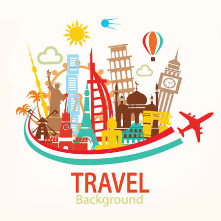 Illustration for world travel, landmarks silhouettes icons set - Royalty Free Image