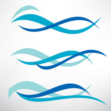 Illustration for water wave set of stylized vector symbols, design elements for template - Royalty Free Image