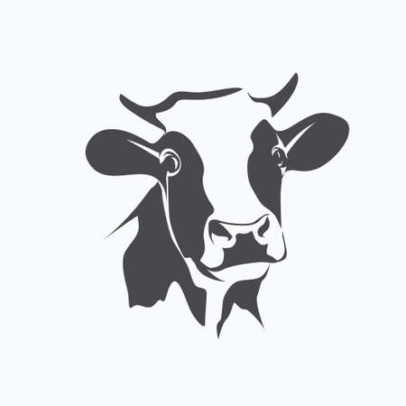 Illustration for holstein cow portrait stylized vector symbol - Royalty Free Image