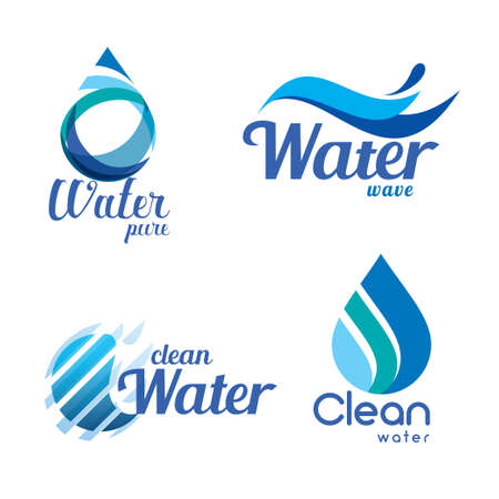 Illustration for set of abstract blue symbols, water drops and wave logo template - Royalty Free Image