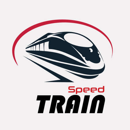 Illustration pour speed train logo template, stylized vector symbol - image libre de droit