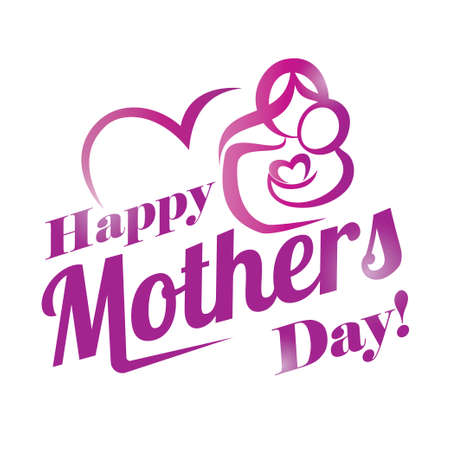 Illustration for happy mothers day greeting card template, stylized symbol of mom and baby - Royalty Free Image