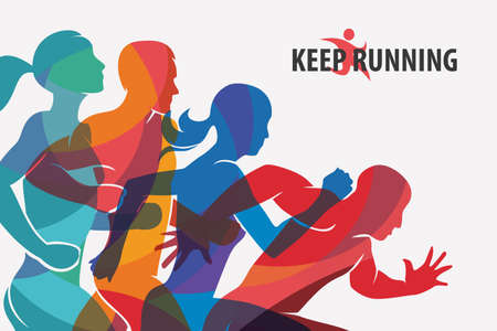 Illustration pour running people set of silhouettes, sport and activity  background - image libre de droit