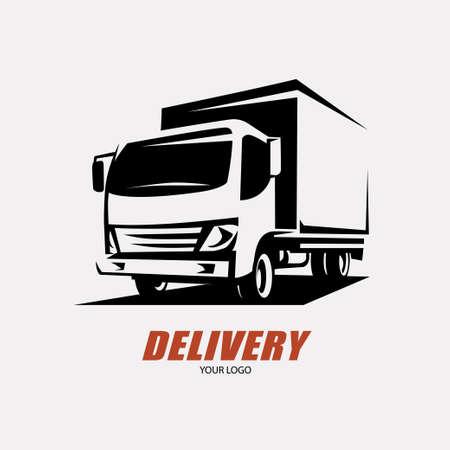 Illustration for delivery and shipping service logo template, minivan stylized symbol - Royalty Free Image