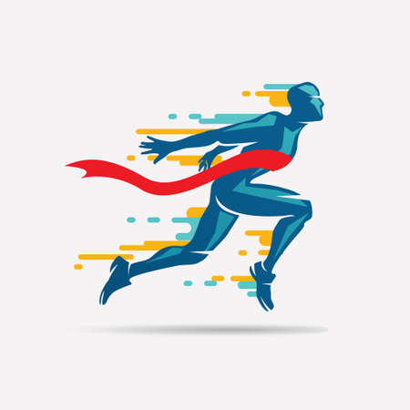 Illustration for running man vector symbol, sport and competition concept background - Royalty Free Image