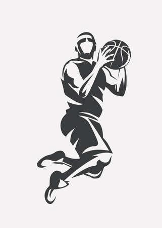 Ilustración de Basketball player jumping stylized vector silhouette, icon template in outlined sketch style. - Imagen libre de derechos