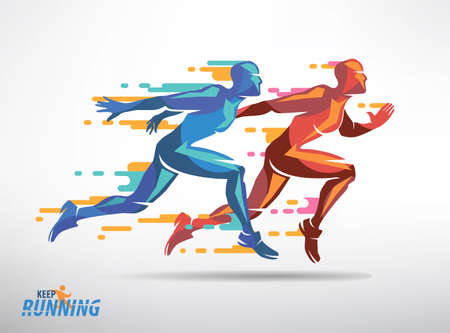 Illustration pour Running athletes vector symbol, sport and competition concept background - image libre de droit