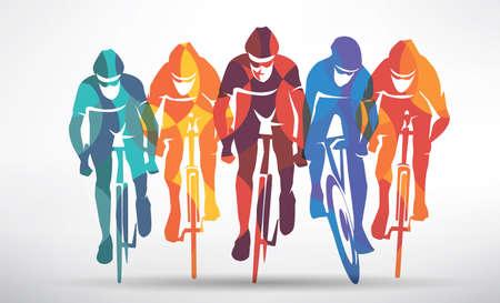 Illustration pour cycling race stylized background, cyclist vector silhouettes - image libre de droit