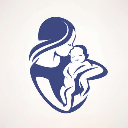 Illustration for mother and baby stylized vector symbol, mom kiss her child logo template - Royalty Free Image