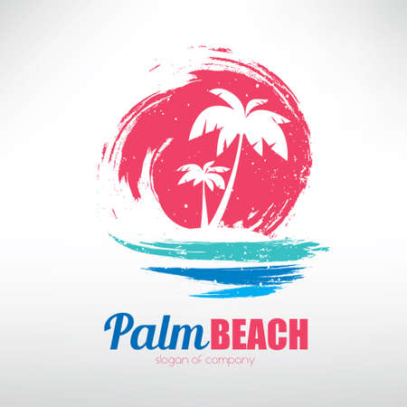 Illustration pour seascape with palm trees on island and ocean waves, stylized vector symbol - image libre de droit