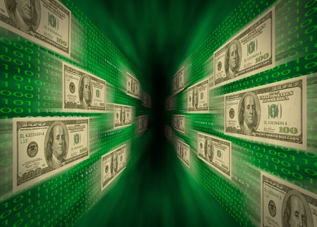 $100 bills flying through a green vortex, with walls of binary code, possibly representing high-speed cash flow, or e-commerce.