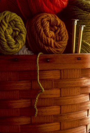 Skeins of wool yarn in a basket with knitting needles