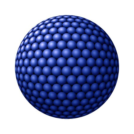 Blue spheres clustered into a larger sphere against white background