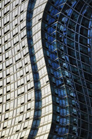 Twisted or warped glass and steel skyscraper structure