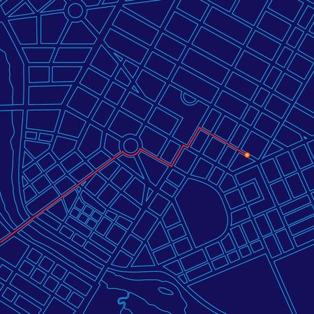 Digital map tracking traveler with GPS through generic urban city