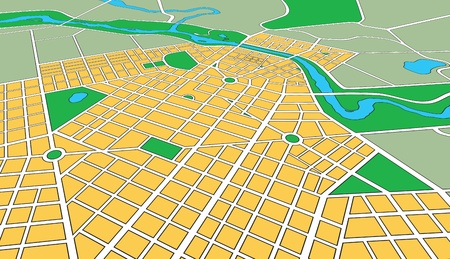Foto de Map or plan of generic urban city showing streets and parks in perspective angle - Imagen libre de derechos
