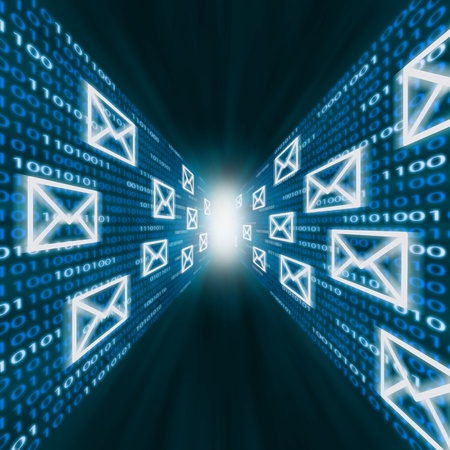 E-mail icons flying along walls of blue binary code