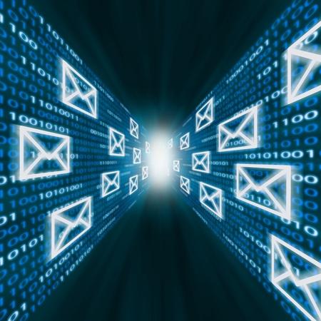 Photo pour E-mail icons flying along walls of blue binary code - image libre de droit
