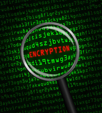 Photo pour The word ENCRYPTION in red revealed in green computer machine code through a magnifying glass  - image libre de droit