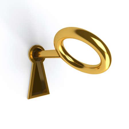 Photo pour Key in golden keyhole on white - image libre de droit