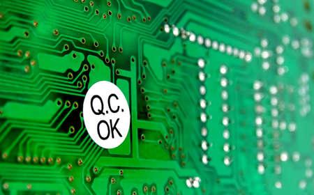Photo pour PCB with sticker of quality control - image libre de droit