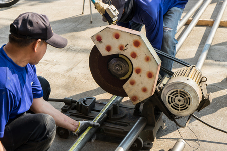 A man working with grinder tool