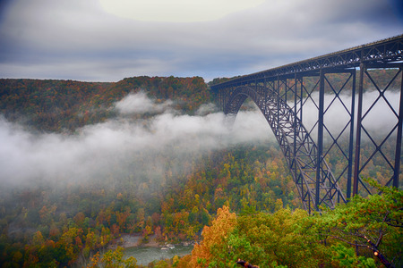 Fog in the morning going under the New River Gorge Bridge