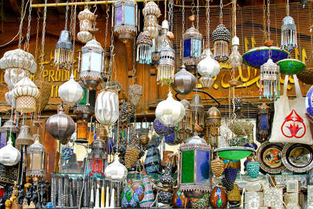 Bunch of colorful chandeliers sold on street market