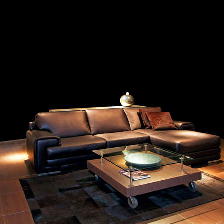 Classic brown leather sofa in living room