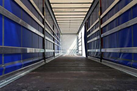 Interior view of empty semi truck lorry