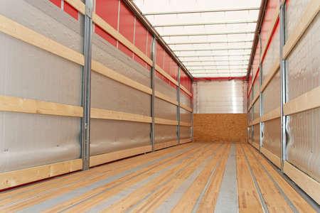 Interior view of empty semi truck trailer