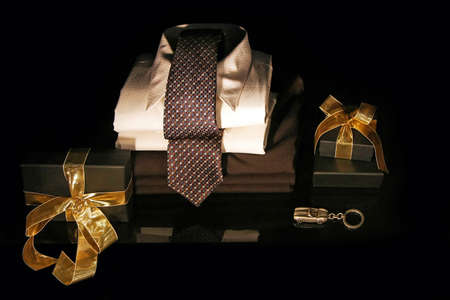 Men shirt with silk tie and gift boxes