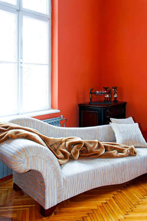 Orange living room corner with retro sofa