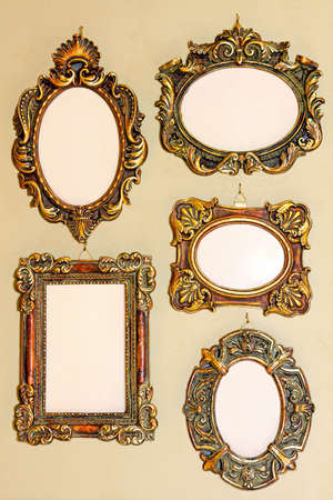 Five different shape very old golden frames