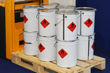 Flammable liquid in containers at pallet forklift