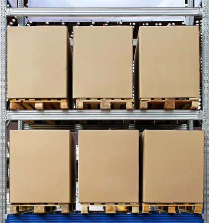 Carboard boxes with pallets in distribution warehouse