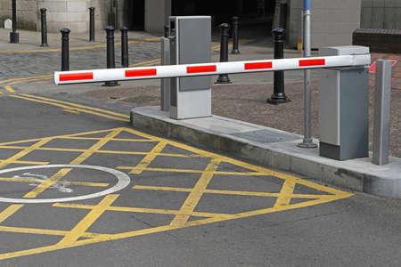Rising arm access barrier at car park