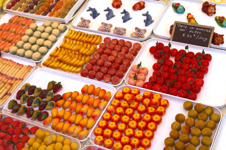 Fruit shaped sweets made from almond marzipan