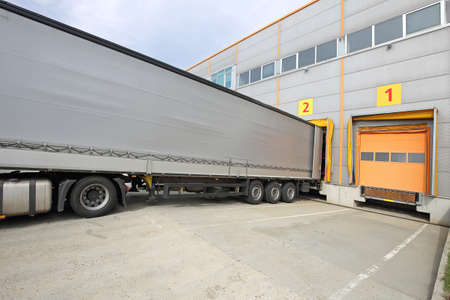 Photo for Loading Lorry Trailer at Warehouse Cargo Door - Royalty Free Image
