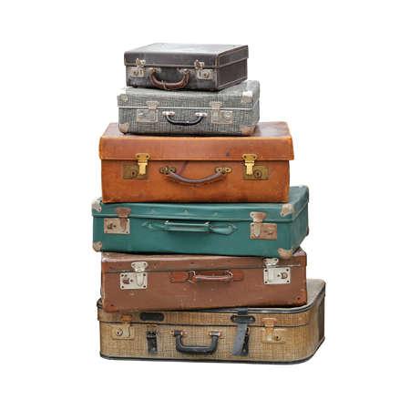 Photo pour Big Pile of Vintage Suitcase Retro Luggage Travel Isolated - image libre de droit