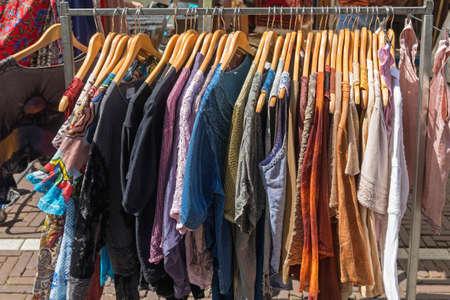 Photo pour Linen and Cotton Clothing at Hangers Street Market - image libre de droit