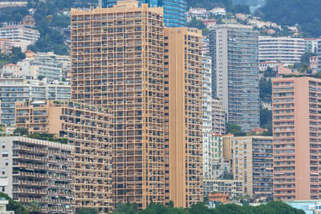 Photo pour Stacked Skyscrapers Residential Buildings in Monaco Microstate - image libre de droit