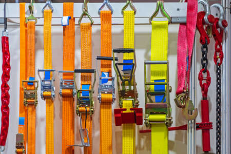Photo for Ratchet Straps Fasteners for Freight Cargo Safety - Royalty Free Image